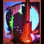 L'esploratore non si accorge dei folletti + Spirale incandescente L'elettroscultura SPIRALE in ferro, vetro soffiato e neon (h 222 cm) con l'emissione di particolari frequenze luminose rivela forme e colori prima invisibili del quadro retrostante L'ESPLORATORE NON SI ACCORGE DEI FOLLETTI